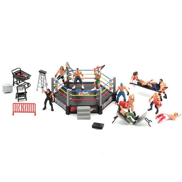Classique Lutte Gym Sport Club Modèle Le cadeau Wrestler athlète Action Figure Building Wrestler Arena modèle SET Boy Toy