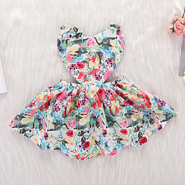 2019 nuovi vestiti di estate di usura infantile del bowknot di nuovo vestito all'ingrosso il tessuto floreale a forma di cuore floreale sveglio delle neonate