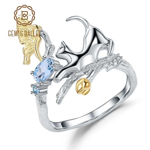 GEM'S BALLET 0.29Ct Natural Swiss Blue Topaz Cat & Butterfly Rings 925 Sterling Silver Handmade Adjustable Ring for Women Bijoux