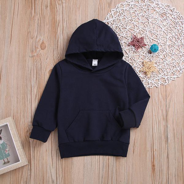 New Hooded Boy Casual Cotton Thin Sweatshirts Kids Boys Girls Sweatshirt Dark Blue 2-8 Years Children's Clothing