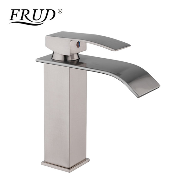 FRUD Brass Waterfall Bathroom Faucet Basin Faucet Single Handle Basin Mixer Tap Sink Faucet Torneira Toilet Deck for Taps Y10137