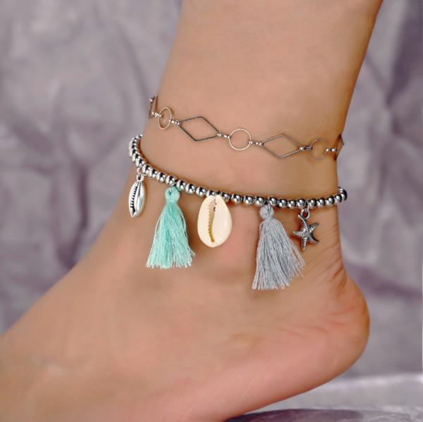 Vintage Retro Mode Bijoux Accessorines Géométrique Shell Starfishs Perles Bracelet de Cheville Gland Chaîne Charme Chaînes Multicouche Bracelets Pour Les Femmes