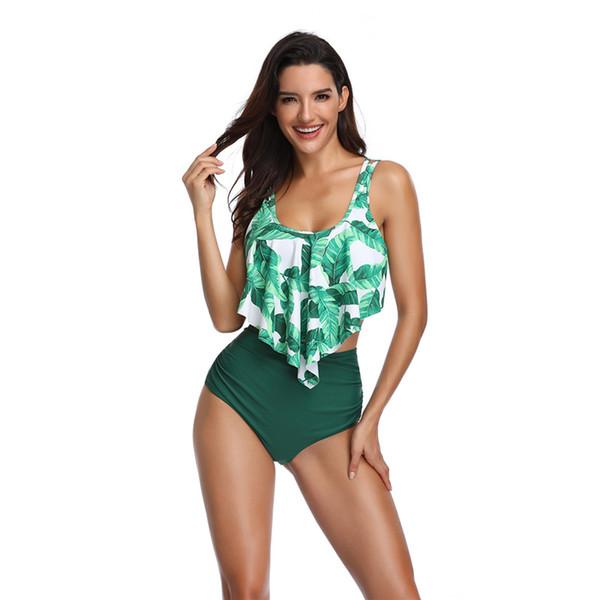 Yeni sıcak kadın bölünmüş mayo yüksek bel seksi düz renk baskı seksi mayo suit bikini takım tayt yaz su sporları mayo # 0569
