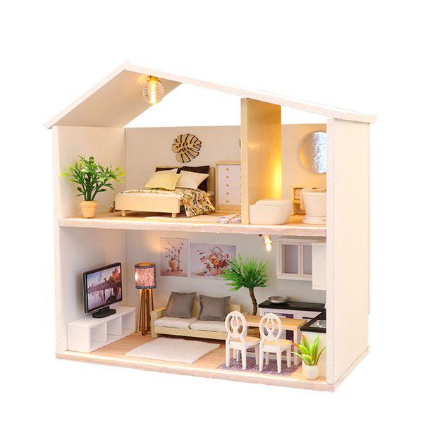 Acquista Fai Da Te Casa Delle Bambole In Legno Mobili Casa Delle Bambole In Miniatura Assemblare Kit 3d Fatti A Mano Mini Casa Delle Bambole