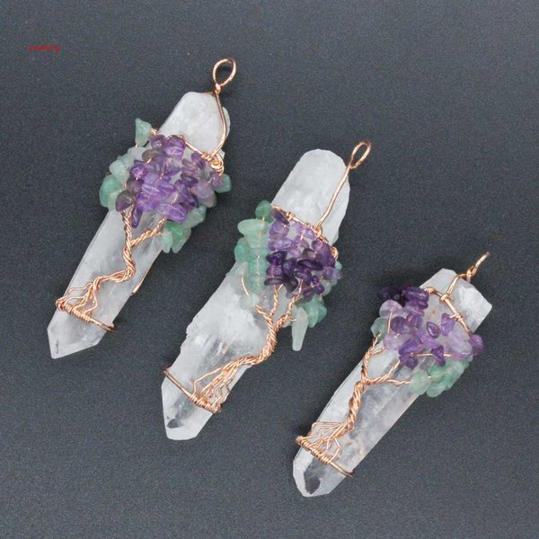 Pendants Necklace Chain Life Tree White Crystal Quartz Natural Stone Hexagon Prism Magic Reiki Charms Wicca Witch Amulet Jewelry