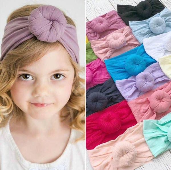 Diademas con nudo superior para bebé 21 colores lisos Diadema para niño de nylon Bohemia Diadema para niña Turbante Accesorios para el cabello para bebé Cintas para el cabello
