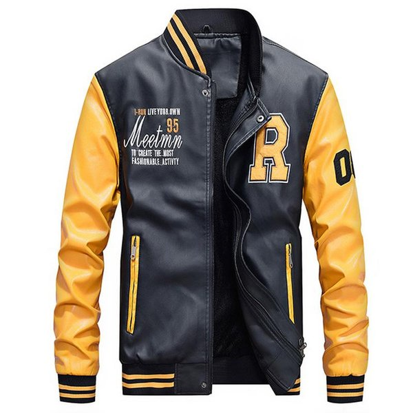 Marca 2019 PU chaqueta de cuero de los hombres forro de lana polar cálido patchwork militar chaqueta de béisbol collar de piloto de cuero chaqueta de abrigo