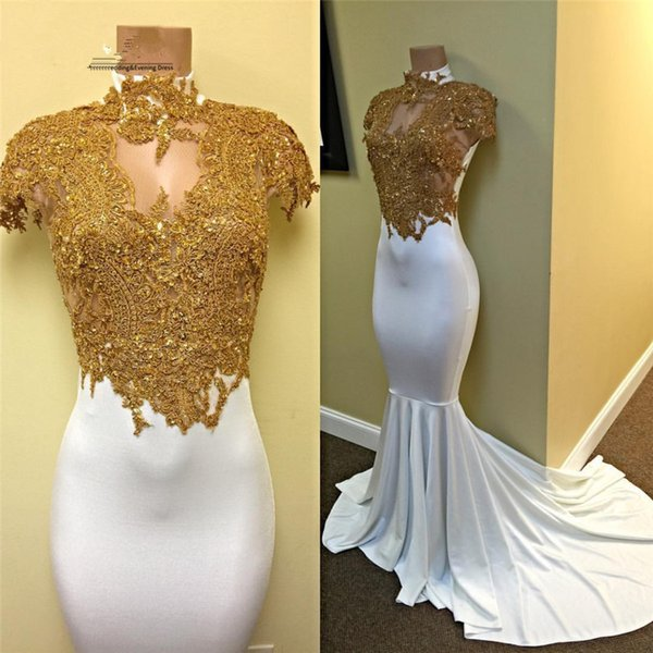 White and Gold Prom Dresses Long 2019 Sexy Mermaid High Neck Short Sleeve Bead Lace Appliques Formal Evening Gowns Cocktail Party Dress