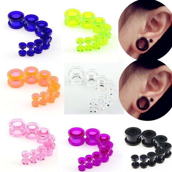 Candy Farben Kunststoff Piercing Schmuck Set Doppelhohlschraube Ausgestelltes Ohr Plugs Flesh Tunnel Punk Ohrringe