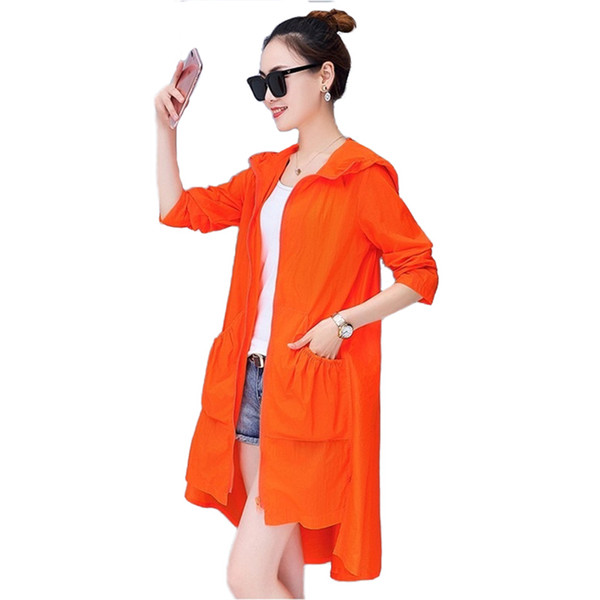 Fashion Women 2019 Hooded Sun protection clothing Summer Thin Trench Coat Female Plus size 4XL zipper Loose Students Tops H796