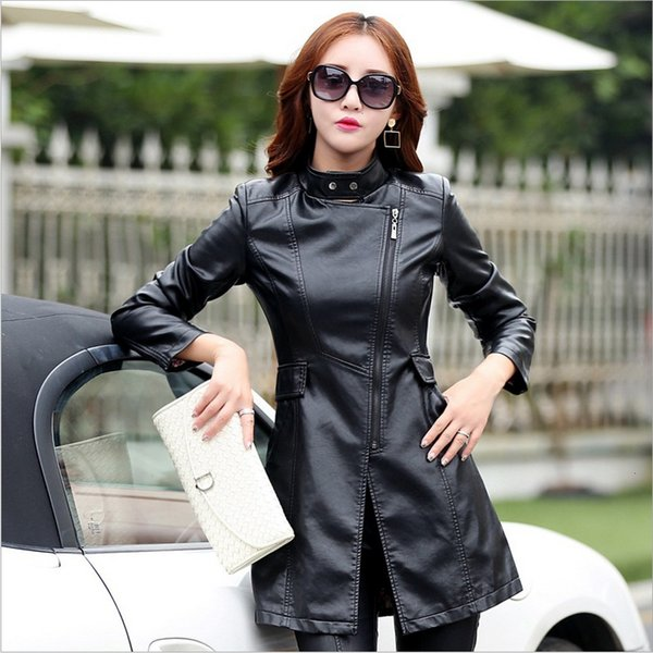 M-5XL Leather Coat Jacket Women Fashion Slim Patchwork Long Female Jacket High Quality PU Motorcycle Autumn Winter Outerwear Y190920