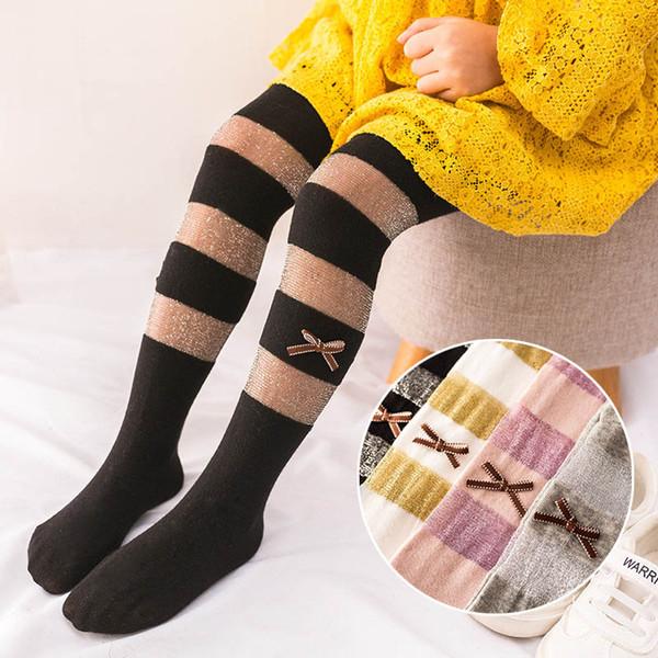 2019 New Summer glisten Children Pantyhose bows stripe Girls Leggings lace Kids Leggings Girls Tights kids designer clothes girls A4841