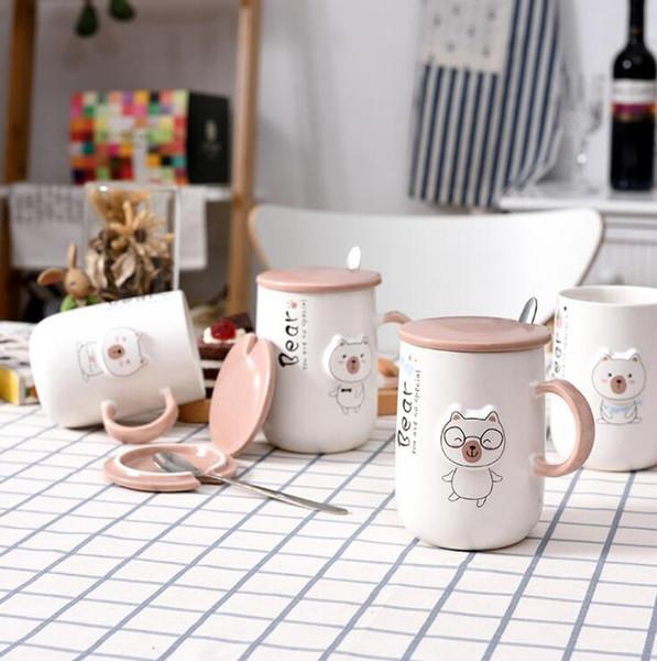Taza del oso de dibujos animados en relieve de la taza de cerámica creativa vaso de agua de la leche taza de café del desayuno cuchara de acero inoxidable con tapa