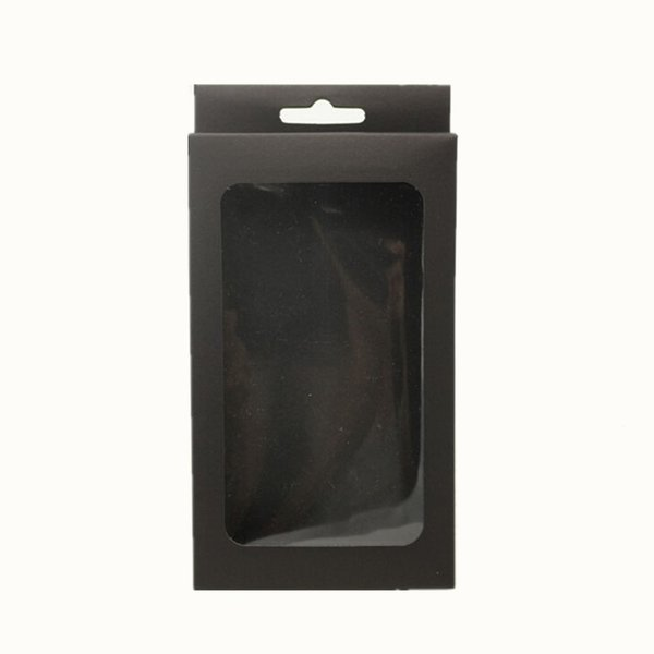 4 sizes Black/white kraft phone case packaging box kraft paper box cell phone mobile phone case box with hanging hole