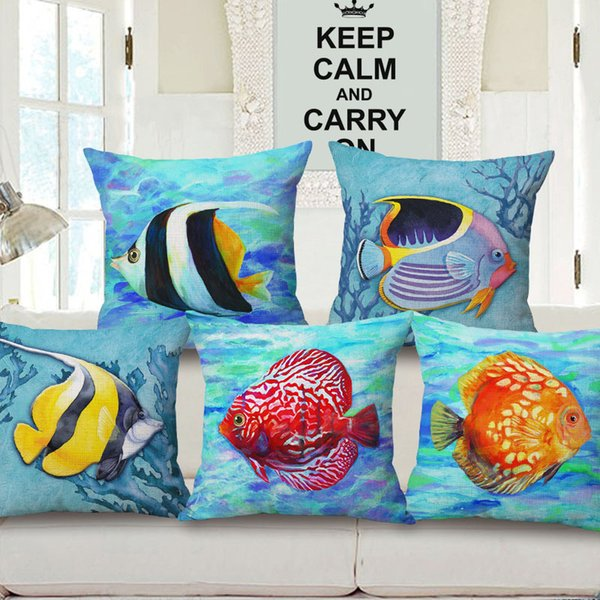New Pattern Tropical Fish Hold Cotton Pillow Case Marine Life By Pillow Case Flax Sofa Cushion
