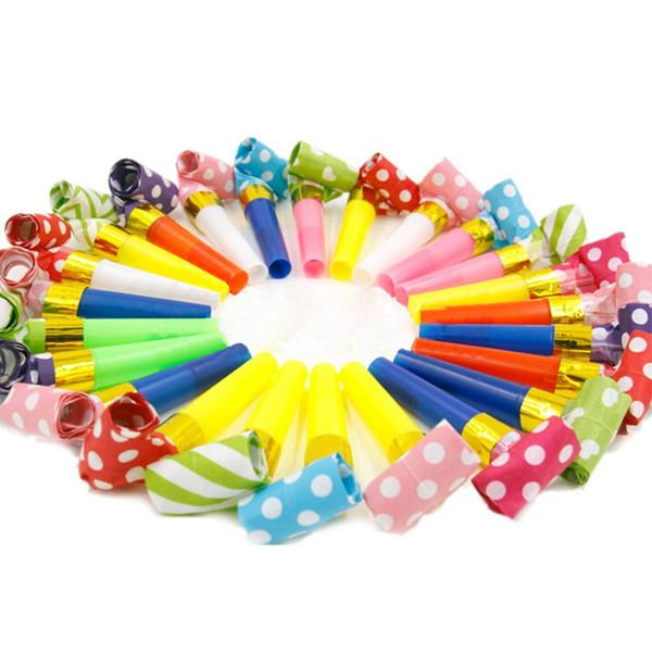 10 Unidades / pacote Pequeno Multi Color Blowouts Whistles Noicemaker Brinquedos Goody Sacos de Festa de Aniversário Dos Miúdos Favores Decoração Suprimentos