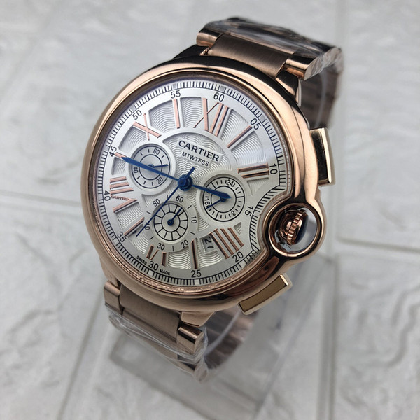 Top Brand Chronograph Working High Quality Full Stainless Steel Mens Luxury Watches For Man Fashion Butterfly Buckle Casual Quartz Watches