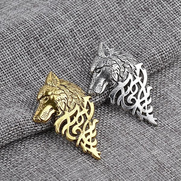 Vintage Wolf Abzeichen Broschen Revers Pin - Mens Punk Cool Shirt Anzug Kragen Brosche Schmuck Geschenk für Männer junge Gold Silber