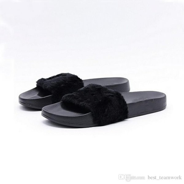 Leadcat Fenty Rihanna Zapatos Zapatillas de mujer Sandalias de interior Niñas Desgaste de moda Rosa Negro Blanco Gris Diapositivas de piel sin caja Alta calidad