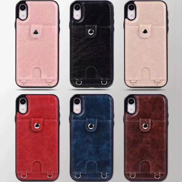 2019 Pour Iphone XS Max XR Étui portefeuille téléphone portable pour étuis en cuir PU portefeuille pochette de couverture arrière avec fente pour carte cadre photo