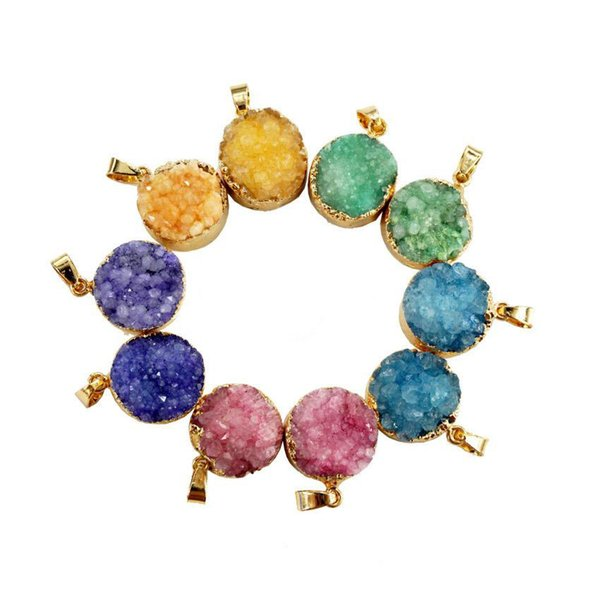 Gazelle Fashion Nature Stone Pendants Drusy Round Hot Sales Bezel Irregular Mix Color Onyx Charms Geode For Necklace