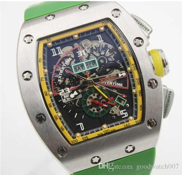 2019 Herren Sportuhren New Special Herren Automatik Mechanik Le Mans Classic Case Herrenuhr Green Rubber Strap