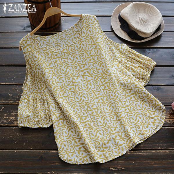 ZANZEA 2019 Moda Verano Algodón Top Mujeres Blusa de hombro Mujer Estampado floral Camisa Damas Linterna Manga Blusa Femininas SH19010