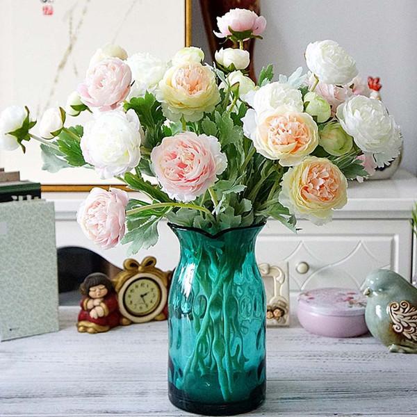 Artificial Camellia Flowers 3 Head Rose Fake Flower for Home Garden Farmhouse Decoration Wedding Bridesmaid Floral Bouquet