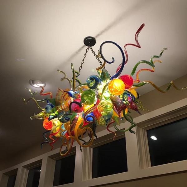 Elegante Lámpara de cristal soplada LED colorido al por mayor Vidrio soplado de Murano lámpara de cristal iluminaciones del antiguo turco colgantes de cristal de la lámpara