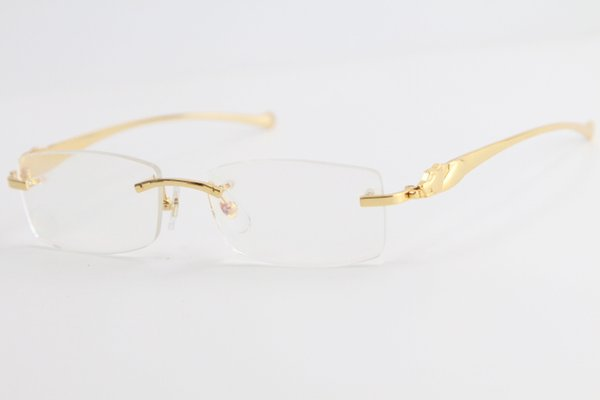 best selling Hot Free Shipping 5102338 Gold Rimless leopard series Eyeglasses Women Fashion Eyewear with box C Decoration gold frame Size:54-16-138mm