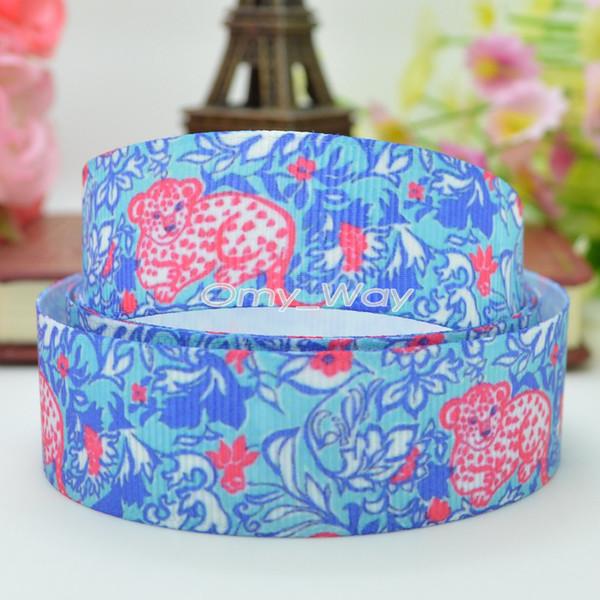 "Lilly Ribbons 7/8"" 22mm Leopard Flowers Printed Grosgrain Ribbon Hair Bow DIY Handmade Crafts Gift Ribbon Print 50Yards"