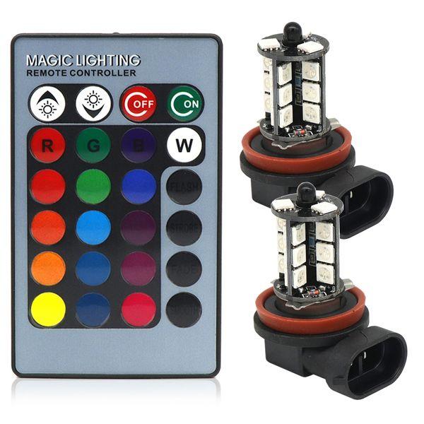 Пульт Дистанционного Беспроводной 5005 27SMD Многоцветный RGB H11 СВЕТОДИОДНЫЙ Строб Светодиодные Запасные Лампы Для Противотуманных фар или Дальнего света DC12V