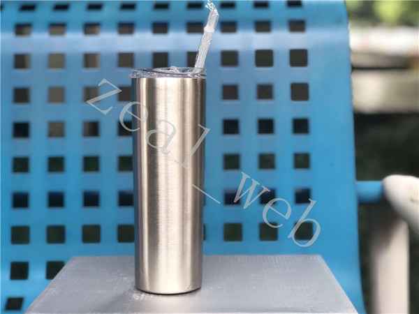 SEA shipping 20oz Skinny Tumbler Stainless Steel sippy cup slim thin tumbler Vacuum Insulated straight tumbler solid color white box
