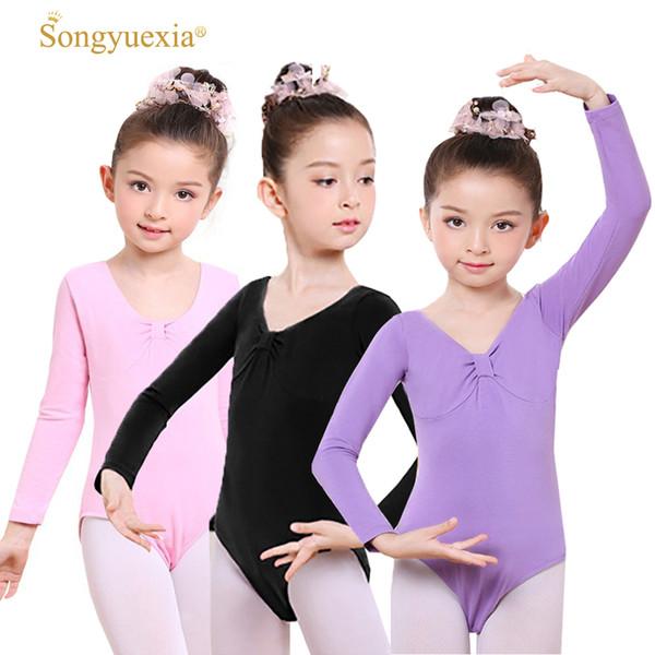 Songyuexia Children woman Long Sleeve ballet dancewear kid Gymnastics leotard dancewear 100-170cm 4colors can Printing logo