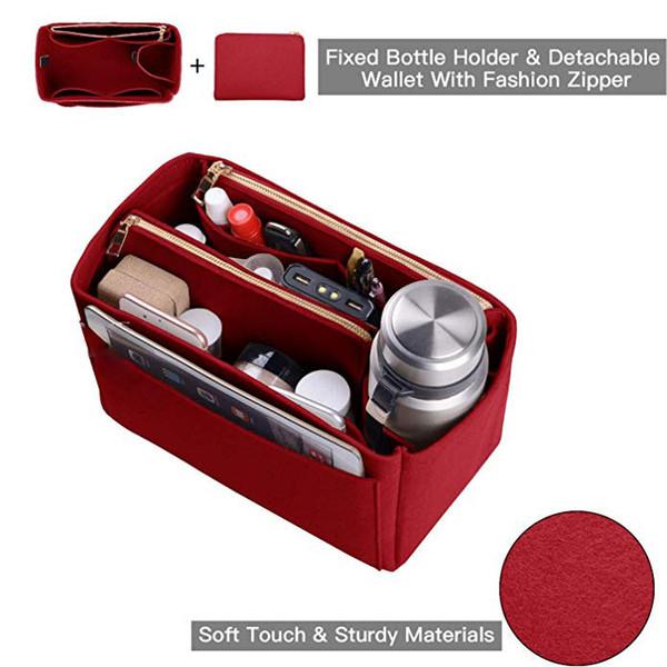 Womens Makeup Organizer/ Felt Insert Bag For Handbag Travel Storage Bag Inner Purse Portable Cosmetic Bags for Travel Organizer