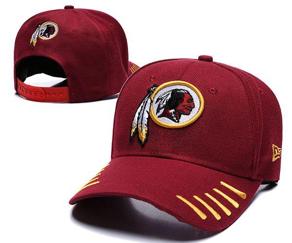Gorra de béisbol más vendida Moda estadounidense 2019 Redskins Sports Golf Visor Snapback Hip hop Gorra ajustada visera Sombrero casquette de marque