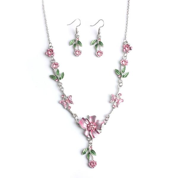 Hot Style Fashionable Necklace Earring Set Temperament Joker Set Diamond Flower Ear Stud Necklace Necklace Bridal Ornaments