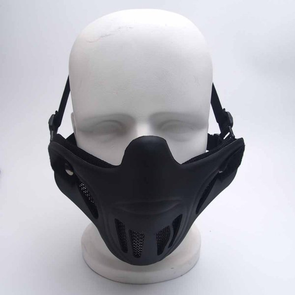 Outdoor Tactical Protective Mask Half Face Metal Steel Net Mesh Hunting Tactical Protective Masks new