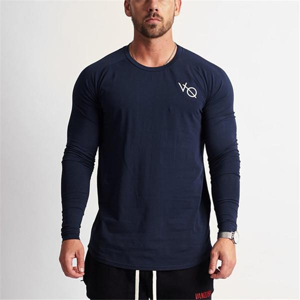 2019 Marca Moda Eclipse Azul Manga Longa Treino Slim Fit Camiseta Homens Algodão Casual T-shirt Sportswear Ginásios Tshirts Preto Vermelho Y190506