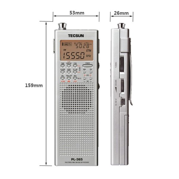 Original Tecsun PL-366 PL365 FM am MW SW LW DSP Receptor Band World Band Shortwave Demodulação Demodulação Stereo Radio I3-002