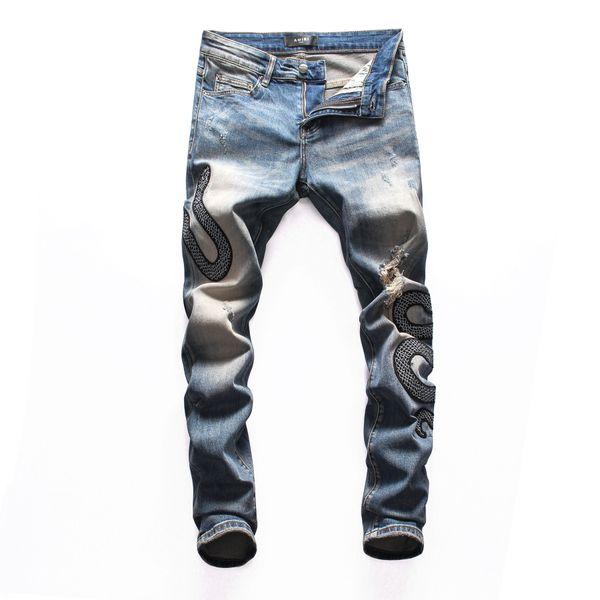 Pencil Pants 2019 Men's Hole Patch Jeans Youth Slim Feet Motorcycle Pants ropa de hombre 2019 streetwear pants men slim jeans men