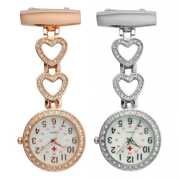 2019 luxury women ladies alloy metal flower love heart shape diamond nurse watch lady medical new pin hang FOB pocket watches