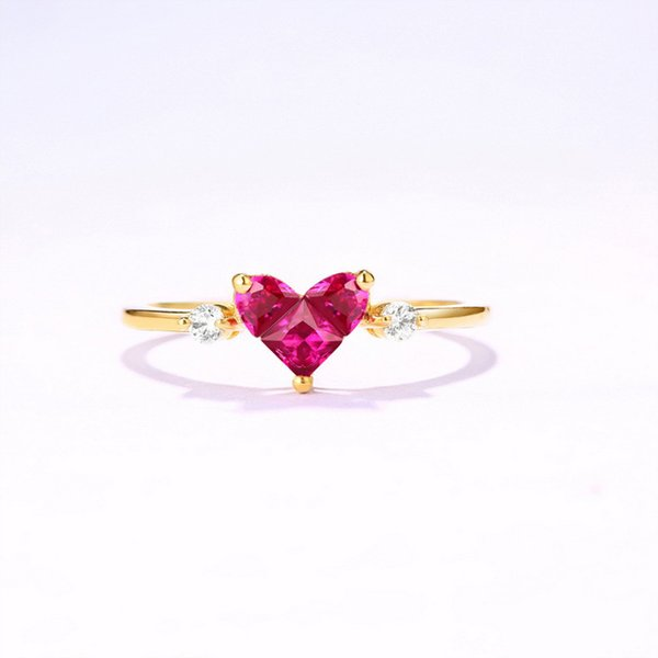 ANI 14K Yellow Gold Women Wedding Ring 3mm Red Corundum Heart Cut Natural Fashion Gemstone Engagement Anelli for Lovers C18122801