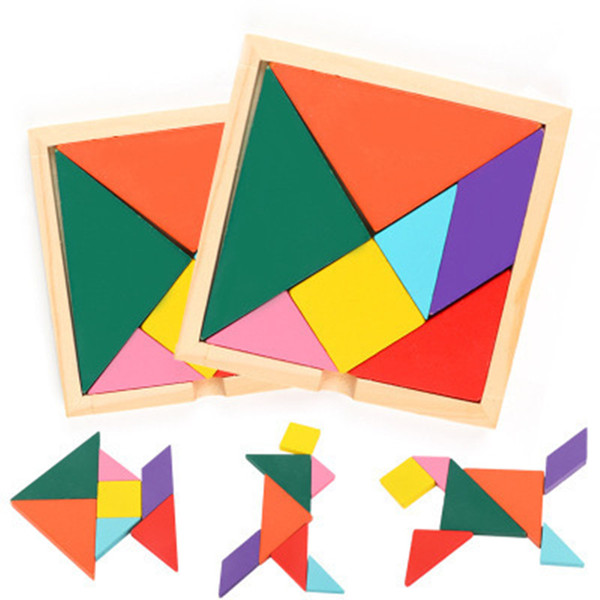 Colorful legno Tangram 7 pc / insieme Jigsaw Piazza blocco di gioco IQ intelligenti Giocattoli educativi migliori regali per i bambini il trasporto libero