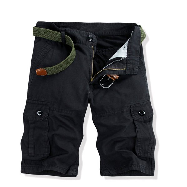 Summer Men Causal Multi-Pockets Regular Fit Cargo Pants Army Style Knee-Length Overalls 3 Colors Summer Fall Men's Casual Pants