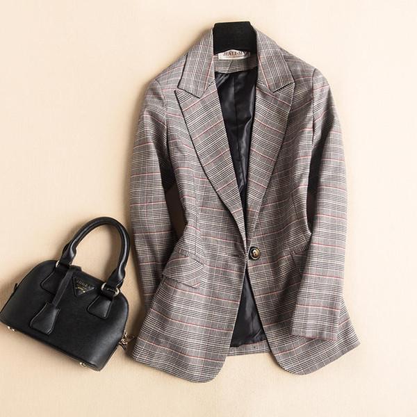 2019 NEU Plaids Frühling / Sommer Blazer Slim Pattern Blazer Damen Blazer Jacken Damen Business Anzüge Plus Size Blaser Mujer V619