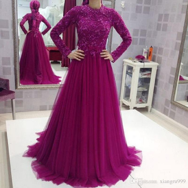 Fuchsia Muslim Evening Dresses With Long Sleeves Tulle Appliques Lace A-line India Evening Gowns Custom Made Floor Length Prom Dress
