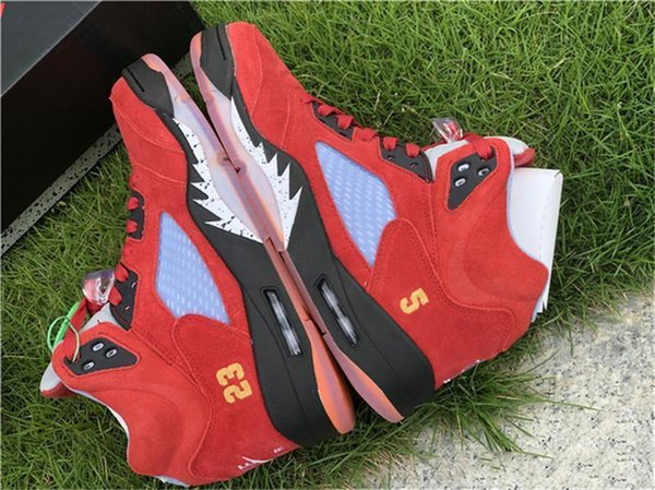 2019 Release Trophy Room Air 5 JSP Black Red Suede 5S Basketball Shoes Family and Friend Ice Blue CI1899-400 Sports Shoes With Box