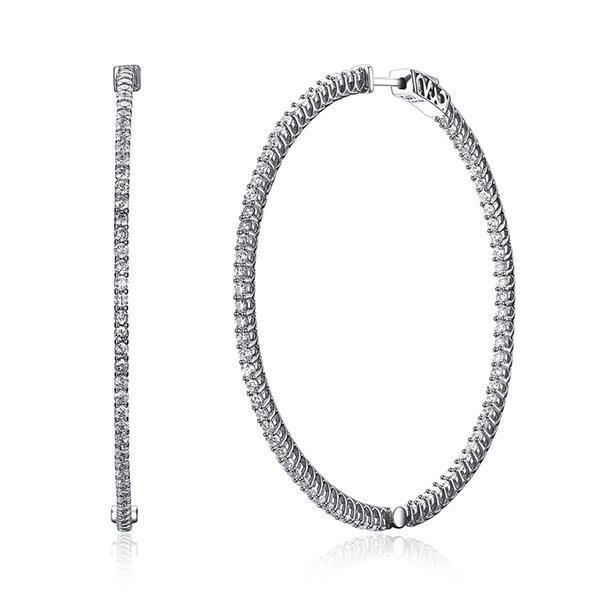 best selling Recommend 56mm large Real Sterling silver hoop earring micro pave tiny crystal jewelry jewellery big 925 silver circle earrings