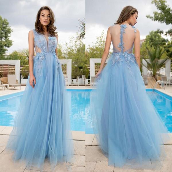 Licht Sky Blue Abendkleid Spitze Appliques Rüschen Tüll Prom Kleider Sheer Back Sleeveless Günstige Formale Party Kleider 2019